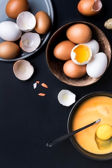 Above view eggs in bowl arrangement