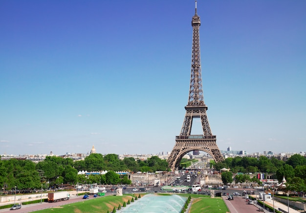 View of eiffel tower  and paris cityscape in summer day, france