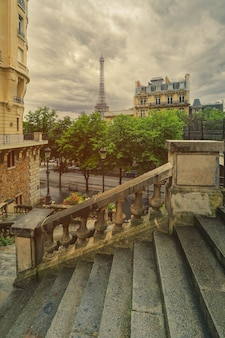 View of eiffel tower on street in paris. eiffel tower is an architecture and landmark of paris.