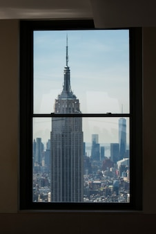 View of the empire state building from top of the rock observation deck, midtown manhattan, new york