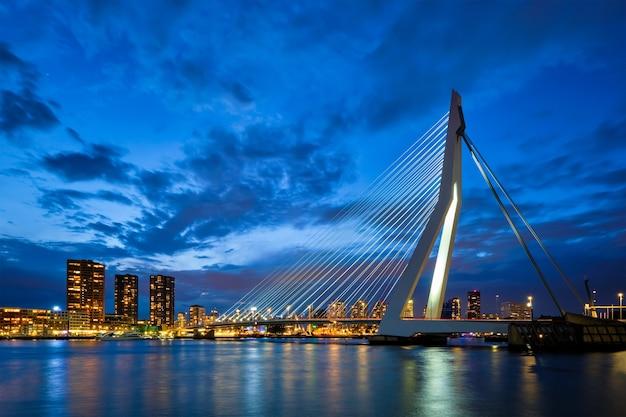 View of erasmus bridge erasmusbrug and rotterdam skyline rotterdam netherlands