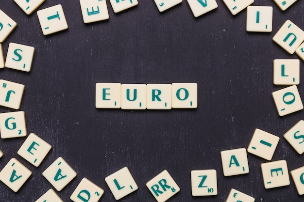 View of euro scrabble letters from above