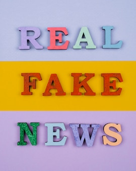 Above view fake news words