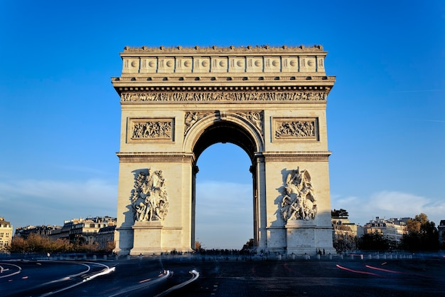 View of famous arc de triomphe, paris, france