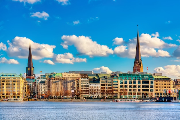 View of famous binnenalster during summer sunny day in hamburg, germany