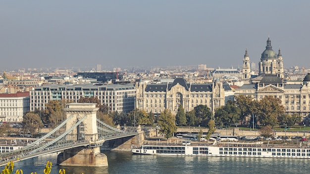 View of famous chain bridge and st stephen basilica from the royal palace in budapest, hungary