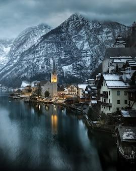 View of famous hallstatt mountain village in austria