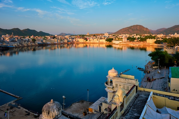 View of famous indian sacred city pushkar with pushkar ghats. rajasthan, india