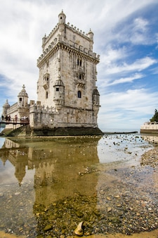 View of the famous landmark, tower of belem, located in lisbon, portugal.