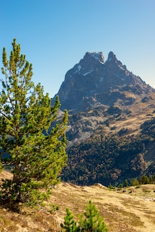 View of the famous pic du midi ossau in the french pyrenees mountains