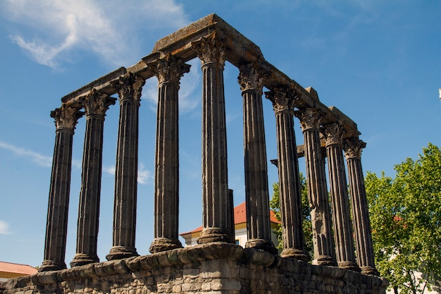 View of the famous temple of diana monument, located in evora, portugal.