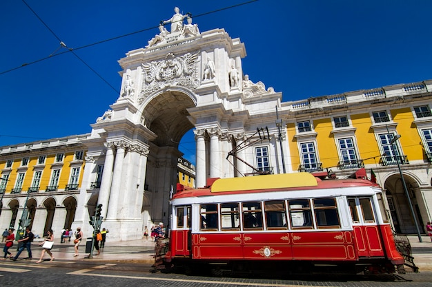 View of the famous triumphal augusta arch located in lisbon, portugal.