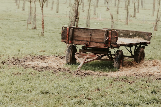 View of farm cart to be hooked to a tractor in the field