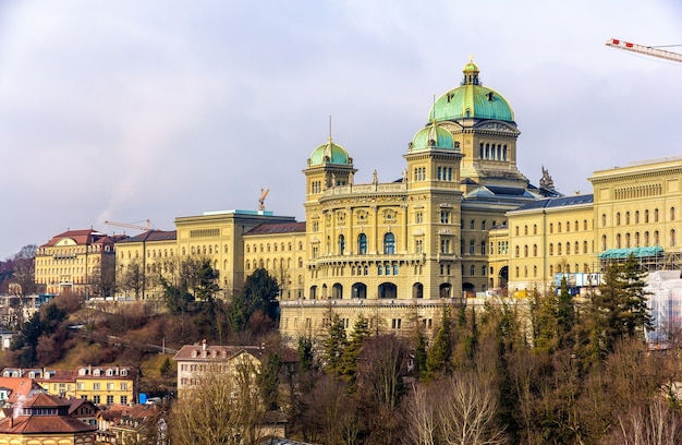 View of the federal palace of switzerland in bern