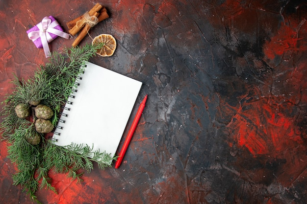 Sopra la vista di rami di abete regalo di colore viola e taccuino a spirale chiuso lime di cannella su sfondo rosso