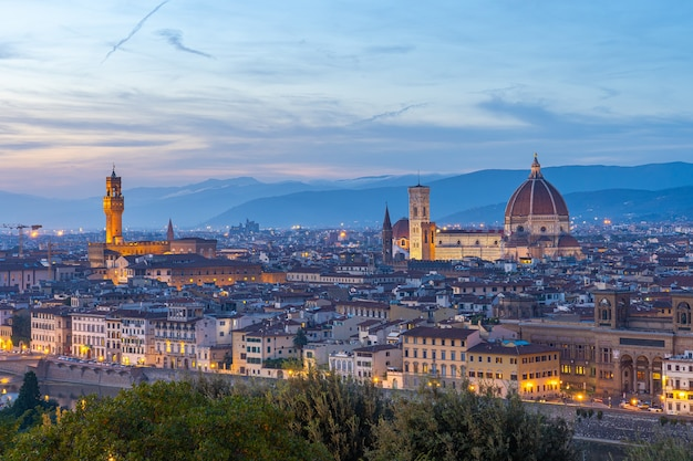 View of florence city skyline at twilight in tuscany, italy.