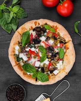 Above view fluffy pizza arrangement