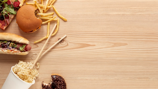 Above view food decoration with wooden background