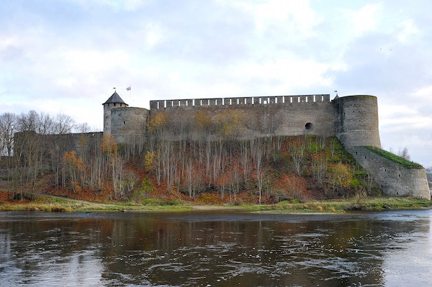 View of the fortress across the narva river in ivangorod