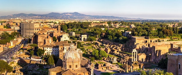 View of forum romanum with colosseum