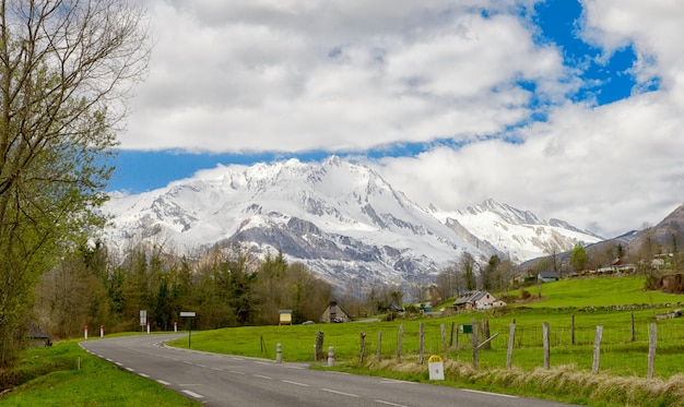 View of the french pyrenees mountains in spring time