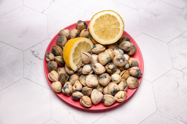 View of fresh cockles on a plate