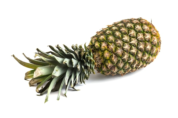 View of fresh pineapple isolated on white background.