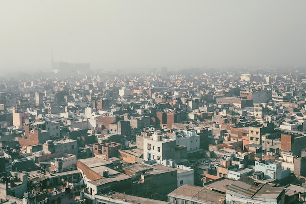View from aeroplane, aero view, bird eye view, buildings view with wing plane in delhi india