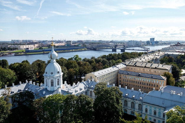 View from bell tower smolny cathedral with dome with cross