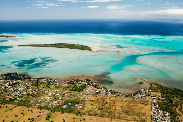 The view from the bird's eye view on the coast of mauritius. amazing landscapes of mauritius.