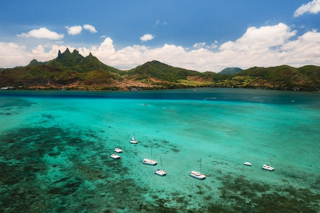 The view from the bird's eye view on the coast of mauritius