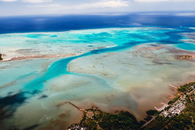 The view from the bird's eye view on the coast of mauritius.