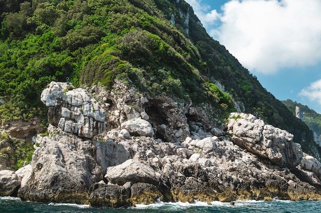 View from the boat on capri island coast. italy.