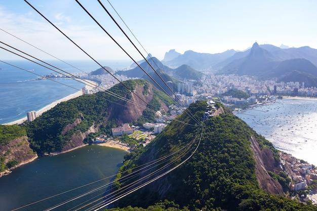 ブラジル、リオデジャネイロのシュガーローフ山にあるケーブルカーの駅からの眺め