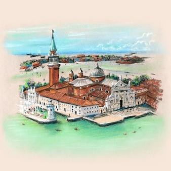 カンパニールディサンマルコからサンジョルジョマッジョーレ島への眺め。手描きのパステルスケッチ