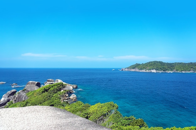 The view from the cliffs over the sea and the island. similan islands thailand