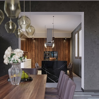 The view from the dining room to the modern kitchen. 3d rendering.