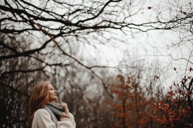 黄色の葉と森に立っている暖かいプルオーバーに身を包んだ赤毛の女の子の距離からの眺め