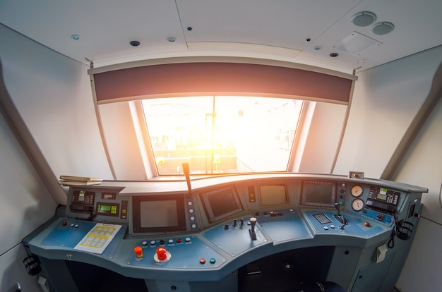 View from the driver's cab of an electric train, voyage on a railway.