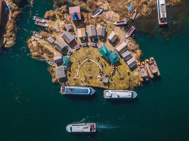 View from a drone island uros in puno