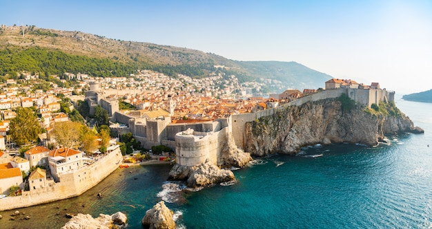 View from fort lovrijenac to dubrovnik old town in croatia at sunset light