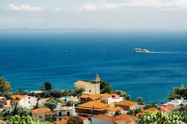 View from the height of the church of the island of zakynthos