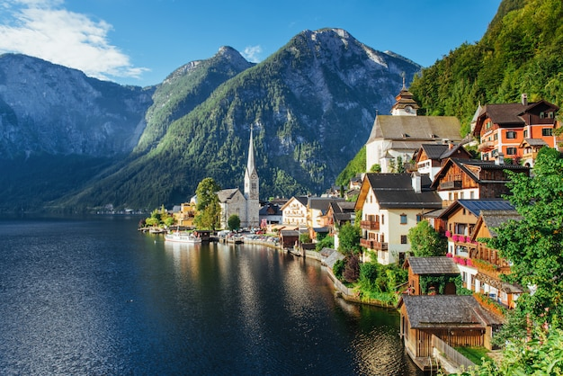 View from height on hallstatt town between the mountains. austria
