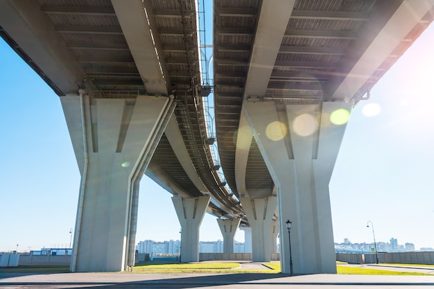 View from under the high-speed highway bridge with a turn.