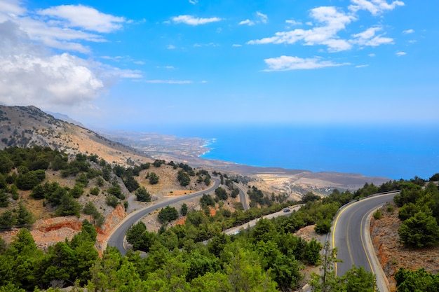 View from the hill to a coastal road and coastline of crete