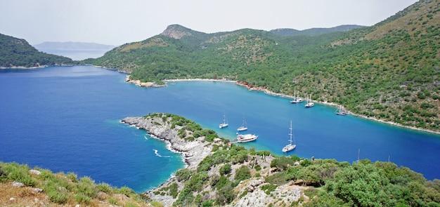 View from above to mediterranean sea coastline in turkey