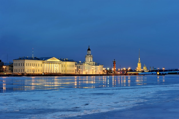 View from the neva river at the peter and paul fortress and the kunstkamera, st. petersburg, russia