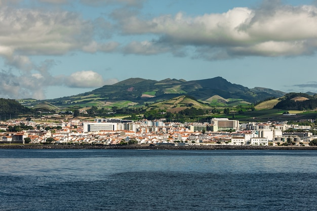 View from the ocean on island of sao miguel in the portuguese autonomous region of the azores island.