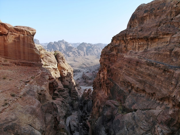 View from above. one of the most important ancient city in the world heritage, the real pearl of all middle east - nabatian city petra. great historical place in jordan
