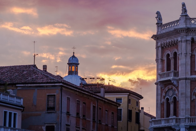View from piazza delle erbe at sunset in padova, italy